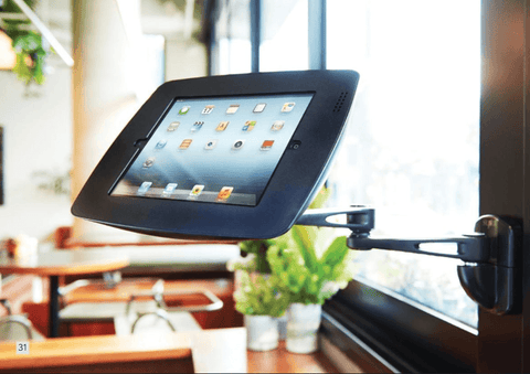 "BOSS-TAB Swing Arm Mount iPad Air 1 2 | iPad Pro 9.7"" Enclosure Black - Easypos Point of Sale Systems"