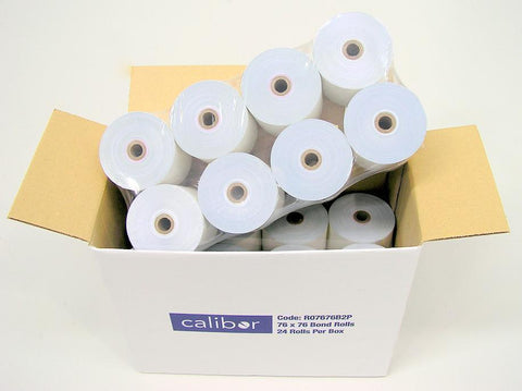 CALIBOR 2PLY PAPER 76X76 24 ROLLS / BOX - Easypos Point of Sale Systems