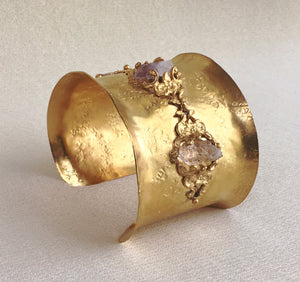Renaissance Gold Cuff with Rose and Clear Quartz