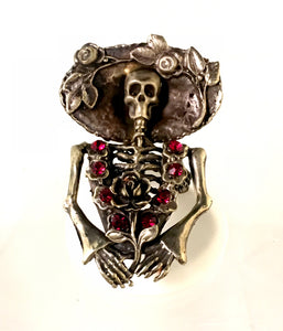 Catrina Ring with Swarovski crystals and hat ideal for day of the dead