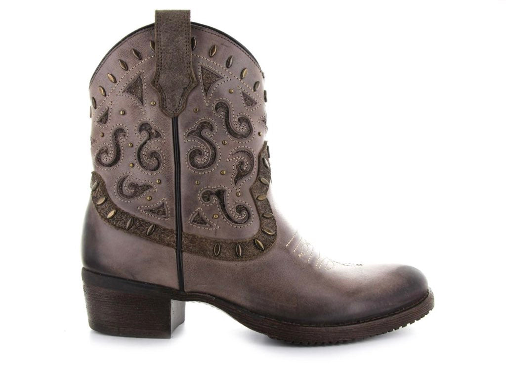 Urban Western Leather Booties with studs and inlay suede