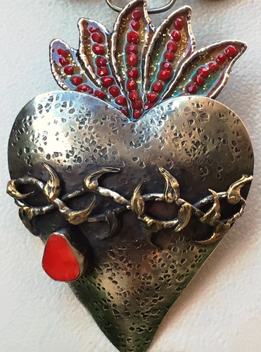 Large Frida heart pendant with with coral tear