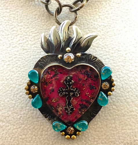 Nicho Heart Pendant with Flame