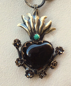 Heart Pendant with Roses and Turquoise
