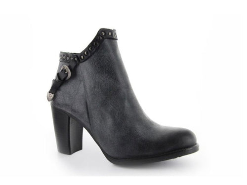 Black leather ankle boot with belt and studs