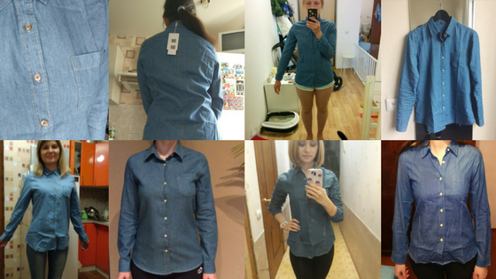 Store Unisex Customers in Denim Long Sleeve Shirt Outfit