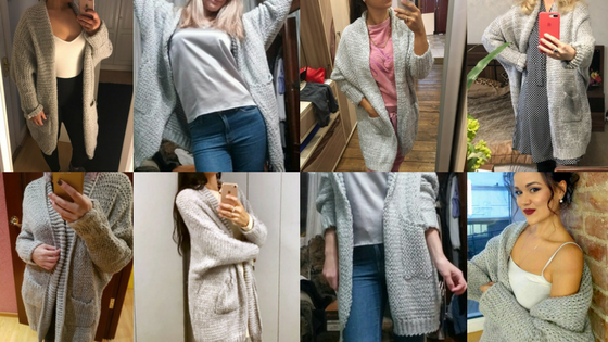 Store Unisex Customers Wearing Ladies Grey Chunky Knit Cardigan.