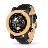 Almond Pine Wooden Skeleton Watch