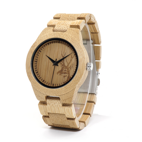 Bamboo Watch with Deer Face
