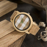 Barley Check Fabric Womens Wooden Watch