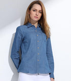 Blue Denim Long Sleeve Shirt Outfit for ladies