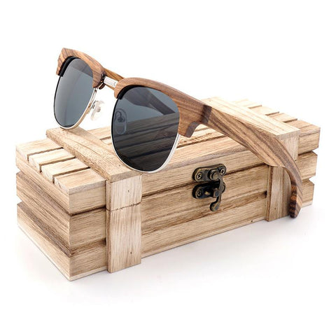 Classic Walnut Wooden Clubmaster Sunglasses