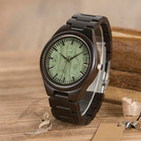 Wooden Watch with Green Face Dial