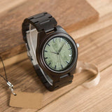 All Black Wooden Watch for Men | Green Face