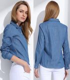 Denim Blouse Outfit for Ladies Slim Fitted