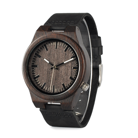 Ebony Wood Watch for Men Leather B-12