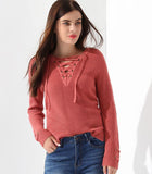 High Low V Neck Lace Up Sweater in Pink