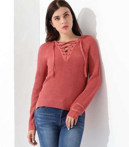 Store Unisex Product WW175 - Pink Lace Up Sweater for Women