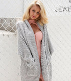 Ladies Grey Chunky Knit Cardigan