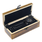 mechanical watch in a secure wooden casing