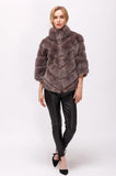 Front side of short rabbit fur jacket.