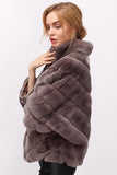 Left Side view of rabbit fur coat with 9 quarter sleeve length.