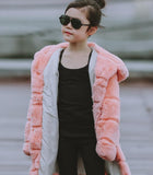 Pink Rabbit Fur Coat for Girls
