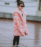 Rabbit Fur Coat with a Hoodie
