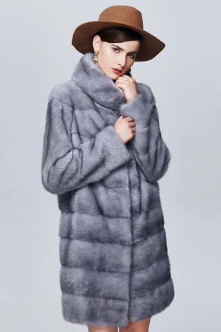 Grey Real Mink Fur Coat Vintage Style