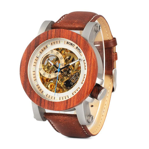 red sandalwood wooden skeleton face watch
