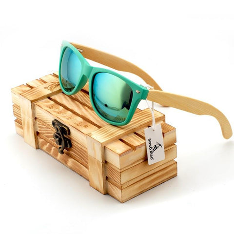 Sea Green Mirrored Wooden Wayfarer Sunglasses