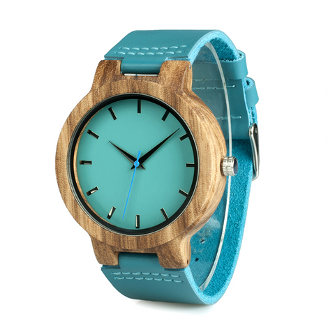 Zebra Wooden Watch with Blue Leather Strap and Blue Dial