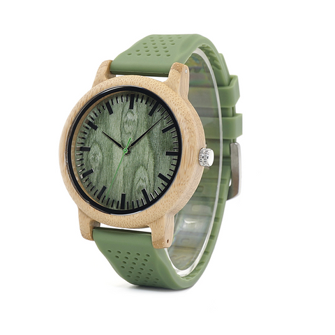 Wooden Wrist Watch for Men in Green Silicone Band