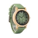 wooden watch with silicone strap