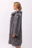 Left Side view of the fox fur coat coat in silver for ladies
