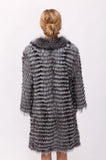 back view of the fur coat with mandarin collar