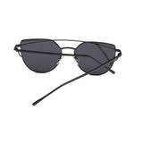 Black Twin-Beams Metal Frame Women Cat Eye Sunglasses with Flat Lens