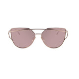 Gold Twin-Beams Metal Frame Women Cat Eye Sunglasses with Flat Lens