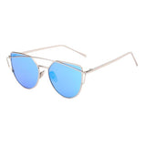 Silver Twin-Beams Metal Frame Women Cat Eye Sunglasses with Flat Lens