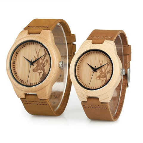 Couples Wooden Watch in Tan Leather