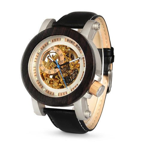 Thunder all black skeleton watch with wooden finish