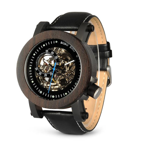 wood-smoke wooden skeleton watch