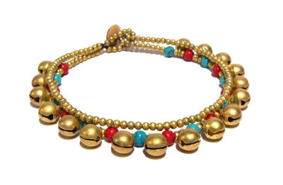 ( BASTA )   Semiprecious stone beaded brass charm bracelet • Lead & nickel free. • Handmade in Thailand