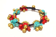 ( ALTEZA ) Semiprecious stone beaded brass charm bracelet • Lead & nickel free. • Handmade