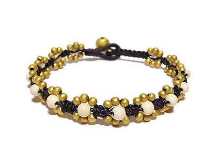 ( TICK TOK )  Semiprecious stone beaded brass charm bracelet • Lead & nickel free. • Handmade