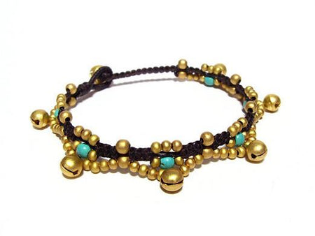 ( VINI ) Semiprecious stone beaded brass charm bracelet • Lead & nickel free. • Handmade