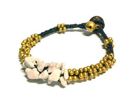 ( GOA ) Semiprecious stone beaded brass charm bracelet • Lead & nickel free. • Handmade