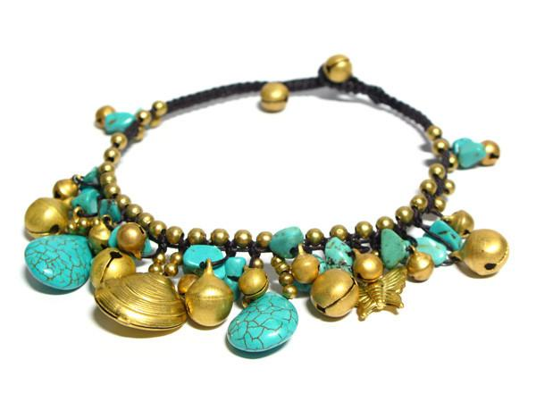 ( DEEP JUNGLE )  Semiprecious stone beaded brass charm bracelet • Lead & nickel free. • Handmade