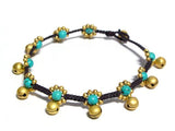 ( JUNGLE WALK Semiprecious stone beaded brass charm bracelet • Lead & nickel free. • Handmade