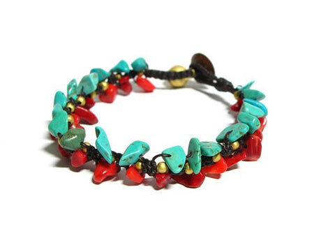 ( SHARDA )  Beaded wrap bracelet. • Lead & nickel free. • Handmade